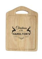 Personalised Wooden Christmas Reindeer Chopping Board With Handle